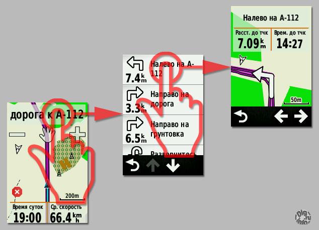 Garmin Edge Touring навигация список перекрестков