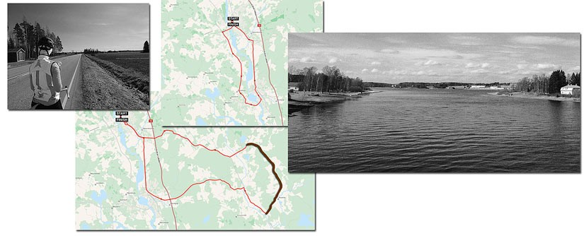Cycling routes around Myllykoski (Finland) for 22 and 47 km