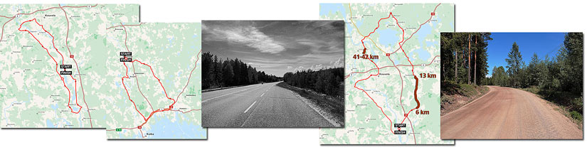 Cycle routes Finland. 54, 84 and 71 km