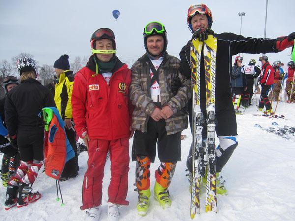 Ishegeru Iwamato, Vladimir Paskonov, Sergey Kuznetsov with ski Ogasaka Triun SL 13/14. Rossignol cup, March 2013