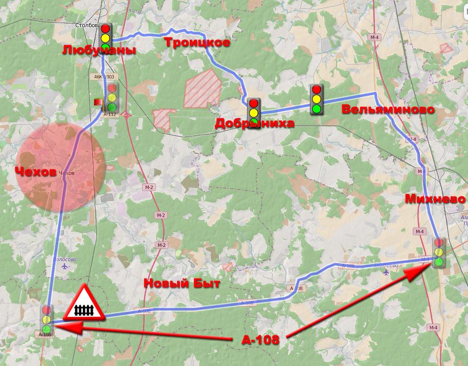 Маршрут 104 км для шоссейного велосипеда