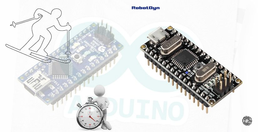 Timing system for Alpine skiing based on Arduino. Arduino Nano from RobotDyn